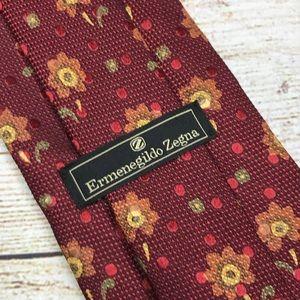ERMENEGILDO ZEGNA Red floral Italian silk necktie